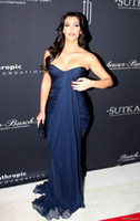 Cheap Kim Kardashian Ruched Navy Blue Chiffon Long Evening Dresses Sweetheart Strapless Mermaid Floor length Red Carpet Dresses Prom Dress