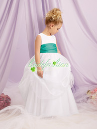 Wholesale 2014 Pretty Ball Gown Flowergirl Dresses Jewel Floor Length Dresses Special Satin kids Bridesmaid Dresses