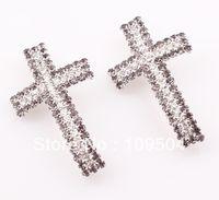 Wholesale NEW Rhinestone Claw Chain Sideways Cross Connector Tube Crystal Cross Links Fit DIY Bracelet ZBE003