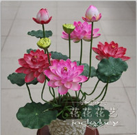 Plastic artificial flower offers - Special Offer EVA Waterproof Lotus Flower Beautiful Artificial Flowers Holiday Decorations Home Furnishings