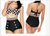 Wholesale Hot Vintage High Waist Polka Dot Bikini Set Cutest Retro Swimsuit Pin Up Swimwear S M L XL