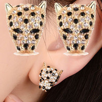 Blue wolf jewelry - 18K Austrian crystal Wolf Earring Stud Korea Rose Gold Leopard Ear Stud women Girl charms Gift cheap Hot Euramerican Fashion Jewelry