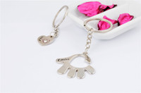Wholesale 2014 fashion rhinestone heart hand palm couple puzzle keychain accessory metal alloy bag keyring keyfob with stainless steel rings