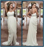 Cheap 2014 Bridal Wedding Dress Empire Waist Beaded Sweetheart Draped Chiffon Beach Wedding Dresses with Front Slit Cheap Grecian Bridal Dresses