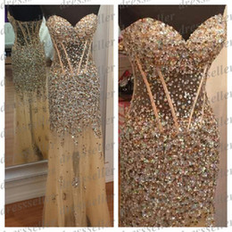 Wholesale Sexy Stunning Pageant Sweet heart Sheer Bodice See Through Mermaid Long Nude Tulle Heavy Stones Sequins Beaded Party Prom Dresses