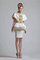 Cheap Free shipping New Arrival White Organza Gold lace Appliques Knee Length Sheath Cap Sleeves High Neck Peplum Short Evening Dresses
