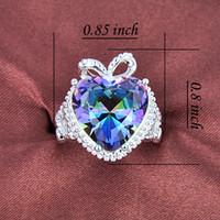 bulk rings - 2015 Time limited Rushed Bohemian Rings Bulk Price Christmas Gift Sterling Silver Heart Rainbow Mystic Topaz Gems Ring R0176