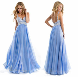 Wholesale Stunning Sweetheart with Beaded Straps A Line Chiffon Fabric Embroidery Prom Dresses Low Zipper Back Sweep Train