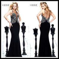 Cheap Gorgous 2014 Tarik Ediz Mermaid Black Chiffon Long Celebrity Evening Dresses Crystal Beaded Floor Length Backless Pageant Prom Gowns