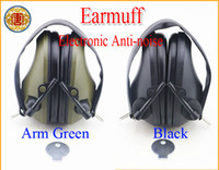 Wholesale Electronic Anti noise Earmuff Impact Sport hunting shooting ear protection stereoor original black green soud hearing Protector