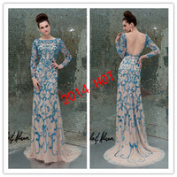 Wholesale 2014 Golden Global Awards Celebrity Dresses Luxury Sequin Lace Embroidery Fitted Long Sleeves Backless Formal Evening Pageant Dresses