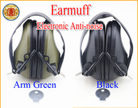 Wholesale New Arrivel Electronic Anti noise Earmuff Impact Sport hunting shooting ear protection stereoororiginal black green soud hearing Protector