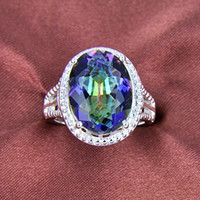Solitaire Ring mystic topaz - 2 piece sterling silver mystic topaz rings jewelry R0180