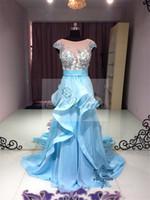 Cheap WOW! Elegant Blue A-line 2014 Wedding Dresses Fine Chiffon Applique Beads Woman Prom Court Train Scoop Neckline Bridal Gowns st.white111