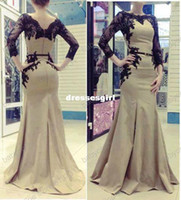 Cheap 2014 New Arrival Elegant Arabic Kaftan Long Sleeve Evening Dresses With Belt Sheer Applique Lace Satin Abaya Dubai Mermaid Prom Gowns BO3406