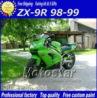 achat en gros de kit carrosserie zx9r-Personnalisé vert noir de carénage pour moto Kawasaki Ninja ZX-9R 98 zx9r de 99 corps en plastique de travail carénages kit ZX 9R 1998 1999 avec 7 cadeaux gq12