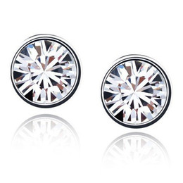7MM Women's Luxury 18K White Gold Plated & White Crystal Stud Earrings Made With Swarovski Elements