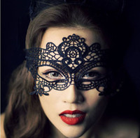 Wholesale EMS Sexy Lady Lace Hollow Flower Mask Eye Masks Black White Halloween Masquerade Party Fancy Dress Masks