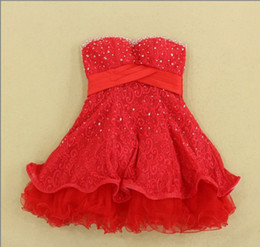 Wholesale Graceful Perfect Red Lace Beaded Strapless Short Mini Ball Gown Wedding Dresses