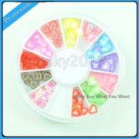 Wholesale 12 Color Heart Fimo Clay Sticker Nail Art Tips Decoration Wheel