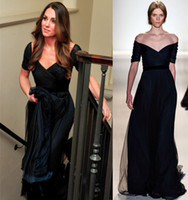 Wholesale 2014 New Kate Middleton Prom Dresses With V Neck Short Sleeve Backless A Line Sweep Train Tulle Dark Navy Jenny Packham Evening Party Gowns