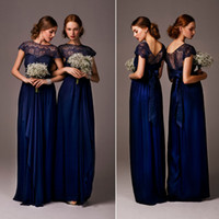 Wholesale 2015 Under Anna Campbell Bridesmaid Dress Sheer Lace Back A Line Crew Royal Blue Chiffon Appliques Evening dresses Bridesmaid Dress