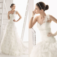 Wholesale Elegant A line Bridal One Shoulder Gown Tulle Lace Beading Sweep Train Chinese Wedding Dress DL1300420