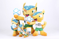Wholesale Neverland Brazil World Cup Official Fuleco Plush Toy holding the ball pose size