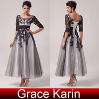 Wholesale 2016 New Arrival Appliques Square Neckline A Line Lace Mother of the Bride Dresses Sleeve Tulle Evening Gown CL6051