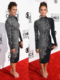 Wholesale 2014 People s Choice Awards PCAs Nina Dobrev in Evening Celebrity Red Carpet Dresses tea length long sleeve silver beaded little black dress