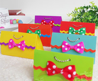 Cheap Party Gifts Wedding Candy Handbag Dots Bow Favor Boxes 6 Colors Rinbow Plain Favor Holders B2630
