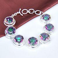 amazing link - Amazing silver Sparkling Marquise Natural Mystic Topaz Round Bracelet CB0839