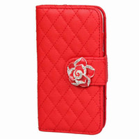 Wholesale Trendy Camellia Rhinestone Cell Phone Shell Protector Artificial Leather Protective Phone Cover Case For iphone4 s Red ISD4