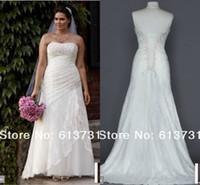 Wholesale Plus size white lace up back spring bridal gowns sweep train strapless applique lace A line wedding dresses YP3344