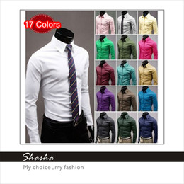 Wholesale 17 Colors New Year Men s Candy Slim Shirts Man s Boy s Fit Luxury Casual Stylish Dress Shirts Boys Cotton Clothes Man Clothing One Piece