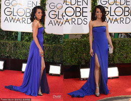 Wholesale Charming Shaw Robinson th Golden Globe Awards Celebrity Red Carpet Dresses Strapless Floor Length High Side Slit Chiffon Evening Gowns