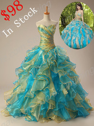 Wholesale Cheapest In Stock Quinceanera Dresses Sweetheart Ruche Mixed Color Ball Gown Full Length Lace Up Prom Dress Gown Us Size