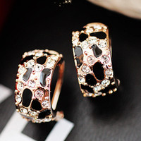 Wholesale Leopard Radian Half Punctuate Big Stud Earrings Rhinestone Glaze Earrings E5706