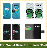 Wholesale X Animal Owl Giraffe Print Flip Case for Huawei G520 G525 PU Leather Wallet Case for Huawei G520 G525 DHL EMS