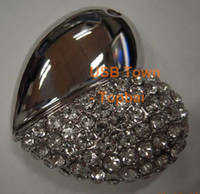 Wholesale Genuine True Capacity NO Upgrade Crystal Heart Design Necklace Pendant Jewelry USB Flash Memory Pen Drive Stick GB GB GB GB GB