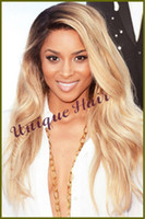 Cheap Queen brazilian hair two tone lace wig ombre blond color #1b 613 virgin remy lace wig human hair glueles front lace wig