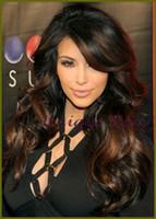 Cheap Celebrity Kim Kardashian virgin malatsian Long wavy two tone ombre Human Hair Middle Part Glueless Lace Wig Front Lace Wig