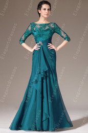 New Arrival 2019 Elegant Chiffon 3 4 Sleeves Length A-line Mother of the Bride Dresses Formal Dresses 100% Same 4053