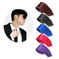Wholesale S5Q inch CM Mens Fashion Plain Solid Classic Satin Skinny Tie Necktie Neck Tie AAAALV
