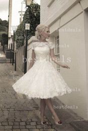 Wholesale 2014 Vintage Sheer Lace A line Wedding Dresses High Neck Cap Sleeves Zipper Button Back Summer Beach Backless Short Bridal Gowns BO3259
