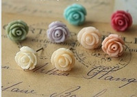 Wholesale Fashion Mixed Colorful Resin Rose Studs Earrings with display Vivid Colors Jew pairs