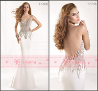 Wholesale 2014 Spring Summer Evening Gowns Sexy Sheer Crew Neck Crystals Rhinestone Satin Backless Mermaid Vintage Pageant Prom Dresses TE93029