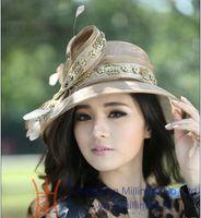 Wholesale Women Sinamay Hat Church Hat Fashion Dress Hat Handmade Ladies Sinamay Hat Women s Wide Brim Hat Free EMS Shipping