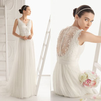 Wholesale Elegant A line Bridal Sleeveless Gown Tulle Lace V Neck Floor Length Chinese Wedding Dress DL1300423