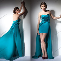 Cheap New Fashion Beach Party Short Front Long Back Hunter Strapless Chiffon long Evening Dress For Sale With Peplum